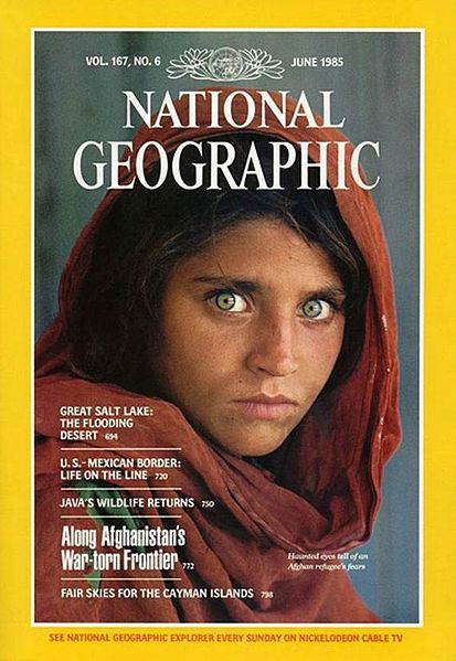 """The Afghan Girl"" 1985 National Geographic cover photo by Steve McCurry."